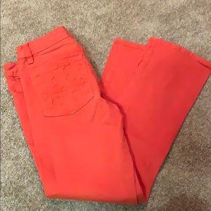 Tory Burch orange cropped jeans